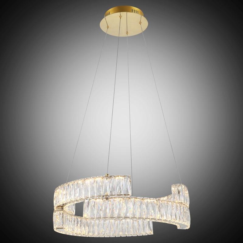 Elegancka  złota kryształowa lampa wisząca lucea ceremin 51922-02-pb1-gd led  salon sypialnia jadalnia hotel restauracja