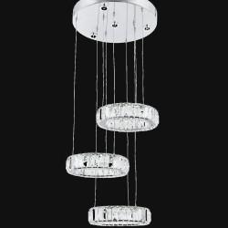 Srebrna kryształowa lampa sufitowa  żyrandol  avonni hotel sala bankietowa restauracja salon  av-1546-3x25  lampa