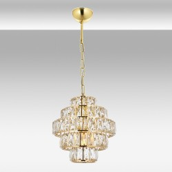 Ekskluzywna   złota  kryształowa lampa wisząca avonni av-5228-1s     salon sypialnia jadalnia hotel restauracja