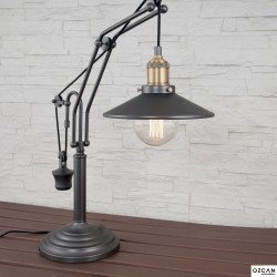 Czarna lampka stolikowa ozcan 6551-ml lampka biurkowa 62cm