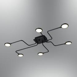 Czarna lampa led plafon ledowy ozcan 5661-6 do łazienki kuchni salonu