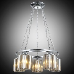 Elegancka srebrna kryształowa lampa wisząca żyrandol lucea akal 80188-03-p05-cr  salon sypialnia jadalnia hotel restauracja