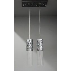 Podwójna srebrna lampa wisząca sevinc 2785-2s srebrny podwójny zwis 2x40w