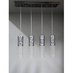 Srebrna lampa wisząca sevinc 2785-4s zwis na listwie 4x40w